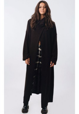 Long Sleeve Dropped Shoulder Poncho Black