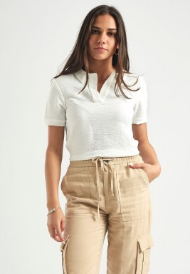 White Polo Short Sleeves Top