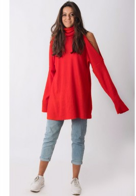 Slashed Shoulder Sweater Dress Red