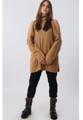 Slashed Shoulder Sweater Dress Beige