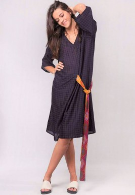 Navy Check Kaftan