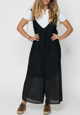Black Tie Rope Mesh Jumpsuit