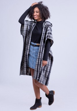 Hooded open front poncho