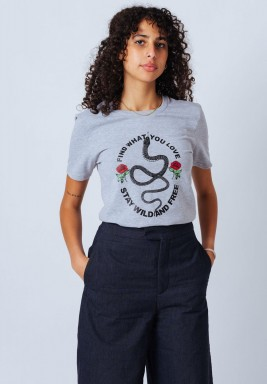 Grey Round Neck T-Shirt with Front Slogan