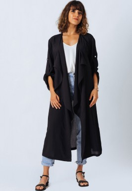 Black Sheer Trench Coat