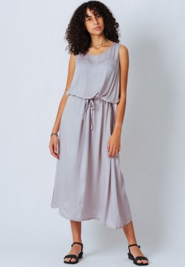 Grey Sleeveless Satin Dress