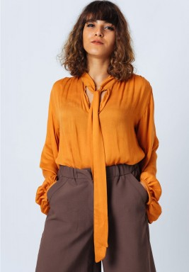 Orange  Neck Tie Blouse