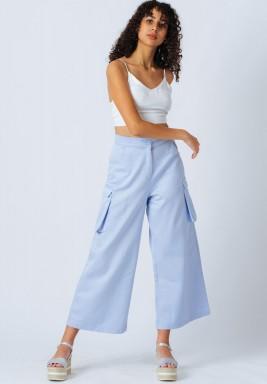 Blue Patch Pockets Pants