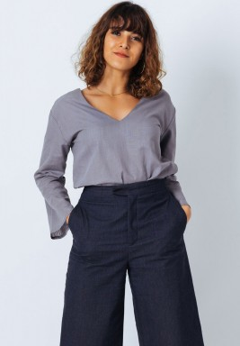 Grey Bell Sleeve Top