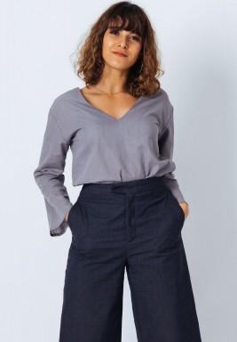 Grey Bell Sleeve Top