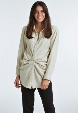 Twist front linen shirt