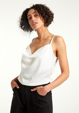 Cowl front strappy top