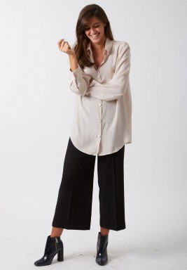Nude cotton silk shirt