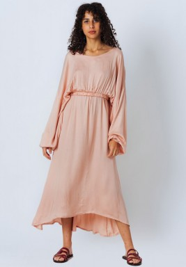 Relaxed Fit Rose Long Sleeve Satin Dress