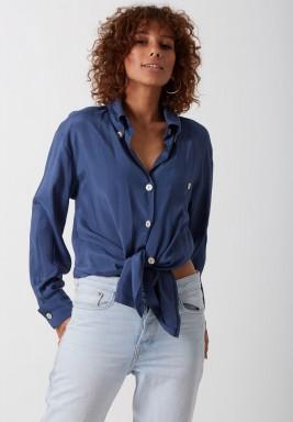 Navy cotton silk shirt