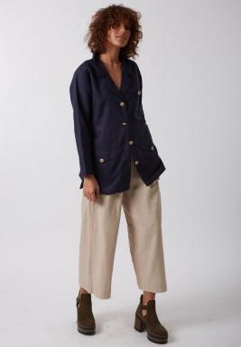 Navy belted line blazer