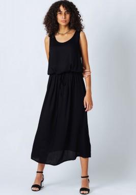 Black  Sleeveless Satin Dress