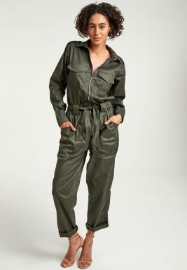 Olive zip utility jumpsuit