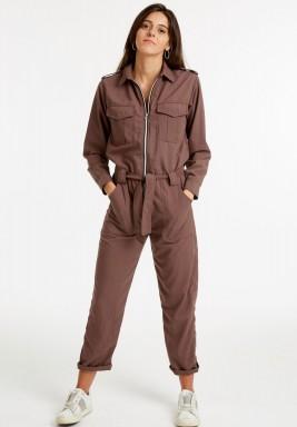 Brown zip utility jumpsuit