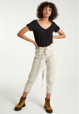 Beige belted pants