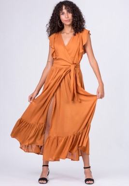 Brick maxi wrap dress