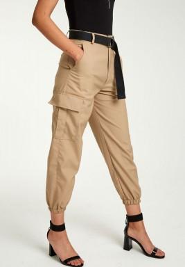 Beige utility cargo pants
