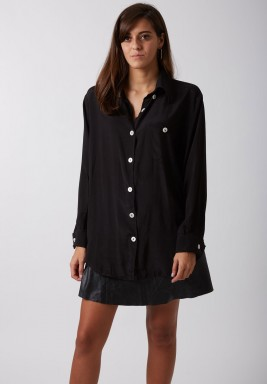 Black cotton silk shirt