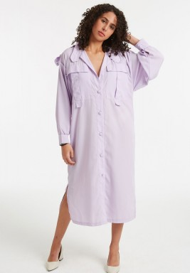 Lilac Royal utility shirt dress