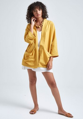 Mustard Linen 3/4th Sleeves Jacket