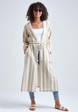 Beige & White Drawstring Linen Cardigan