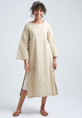Beige Linen Shirt Dress