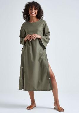 Olive Linen Shirt Dress