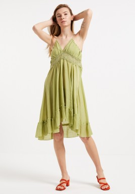 Green Backless Beach Dress