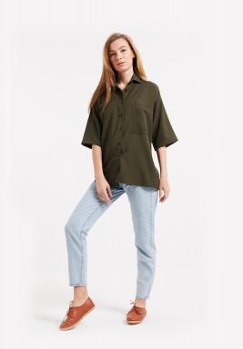 Oversized Linen Shirt - Olive