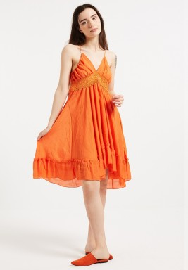 Orange Backless Beach Dress