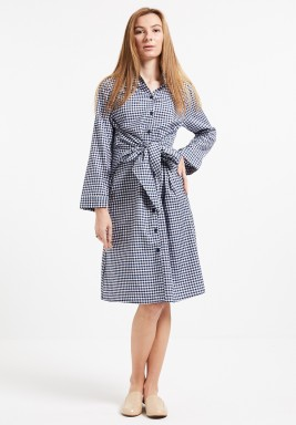 Checked Front Tie Shirt Dress
