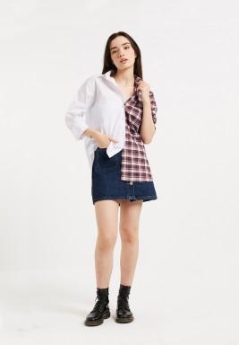 White Block Asymmetric Shirt
