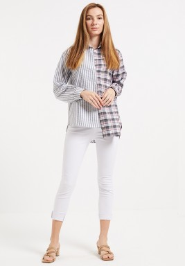 Grey Block Asymmetric Shirt