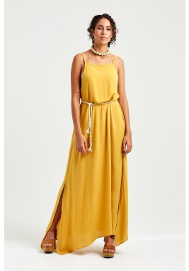 Mustard Jasmine Backless Dress