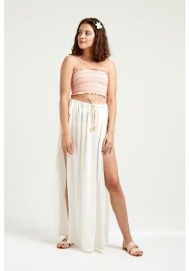 Creamy Cover Up Slit Skirt