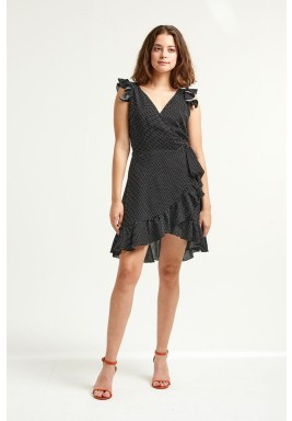 Isabella Black Polka Dot Ruffled Dress