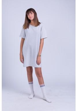 Grey cotton shirt dress