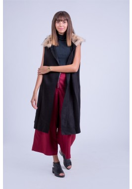 Fur collar wool vest