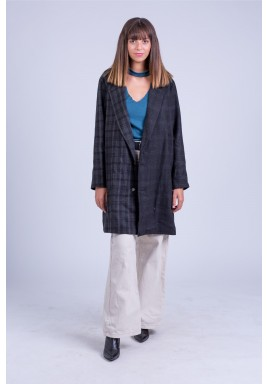 Asymmetric plaid coat