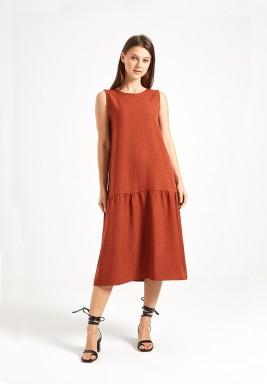Rust Fluted Hem Dress