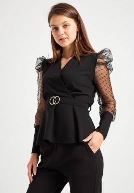 Black Puffed Sleeve Top