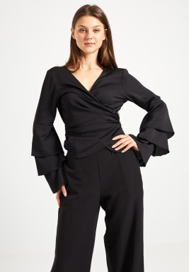 Black Flared Sleeve Wrap Top
