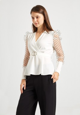 White Puffed Sleeve Top