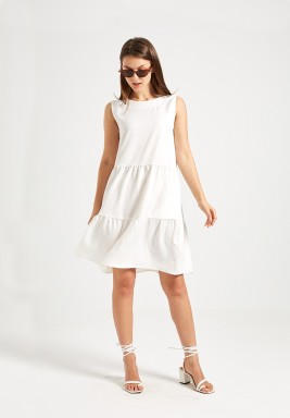 White Flowy Ruffled Dress