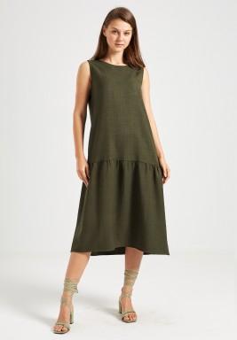 Olive Fluted Hem Dress